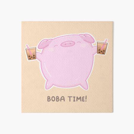 Boba Time Pig  Art Board Print
