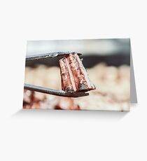 Preparing Steaks On Barbecue Day Greeting Card