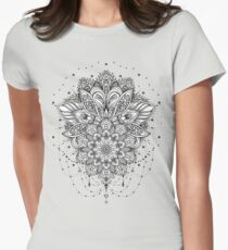 Ornate Lotus Flower Womens Fitted T-Shirt