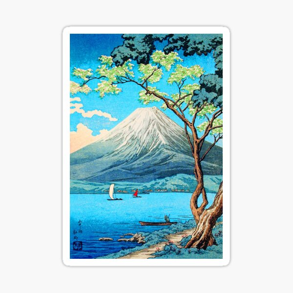 Sailing on the Foot of Mount Fuji beautiful Day on the Lake Classic Art Sticker