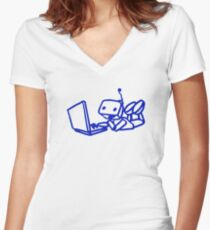 Robot using laptop Women's Fitted V-Neck T-Shirt