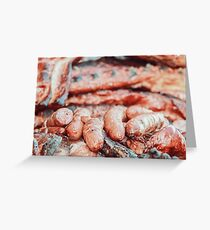 Sausages And Steaks On Barbecue Grill Greeting Card