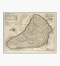 Vintage Map of Barbados (1736)  Photographic Print