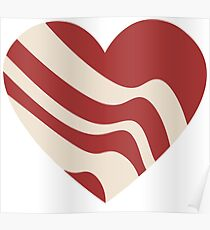 Bacon in love heart - I love bacon Poster