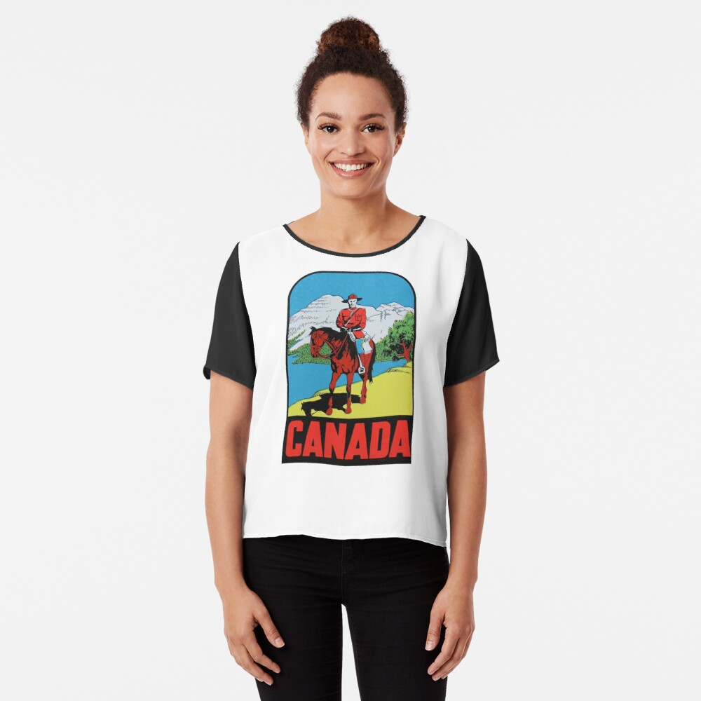 Canada Canadian Mountie Vintage Travel Decal Women's Chiffon Top Front