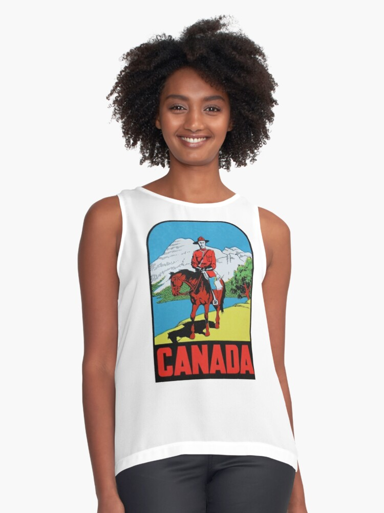 Canada Canadian Mountie Vintage Travel Decal Contrast Tank Front