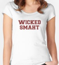 Wicked Smart (Smaht) College Boston Women's Fitted Scoop T-Shirt