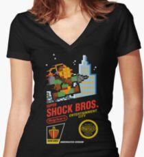 Super Shock Bros Women's Fitted V-Neck T-Shirt