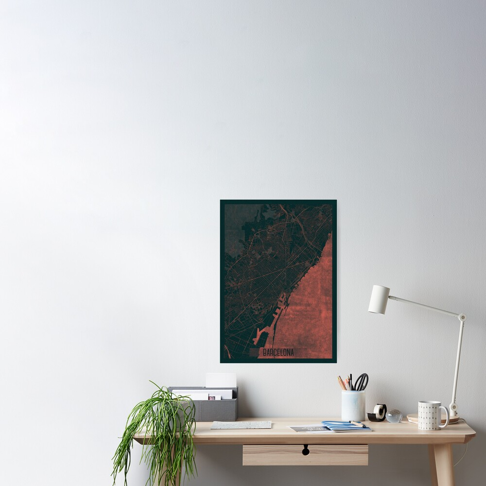 Barcelona Map Red Poster