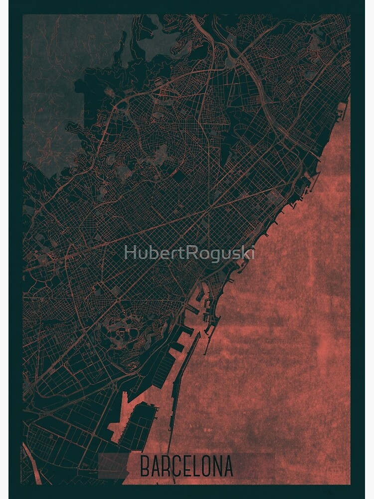 Barcelona Map Red by HubertRoguski