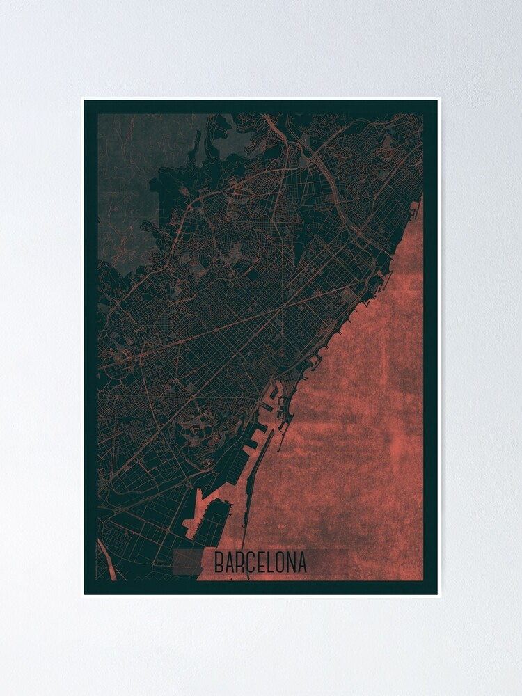 Alternate view of Barcelona Map Red Poster