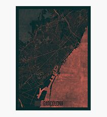 Barcelona Map Red Photographic Print