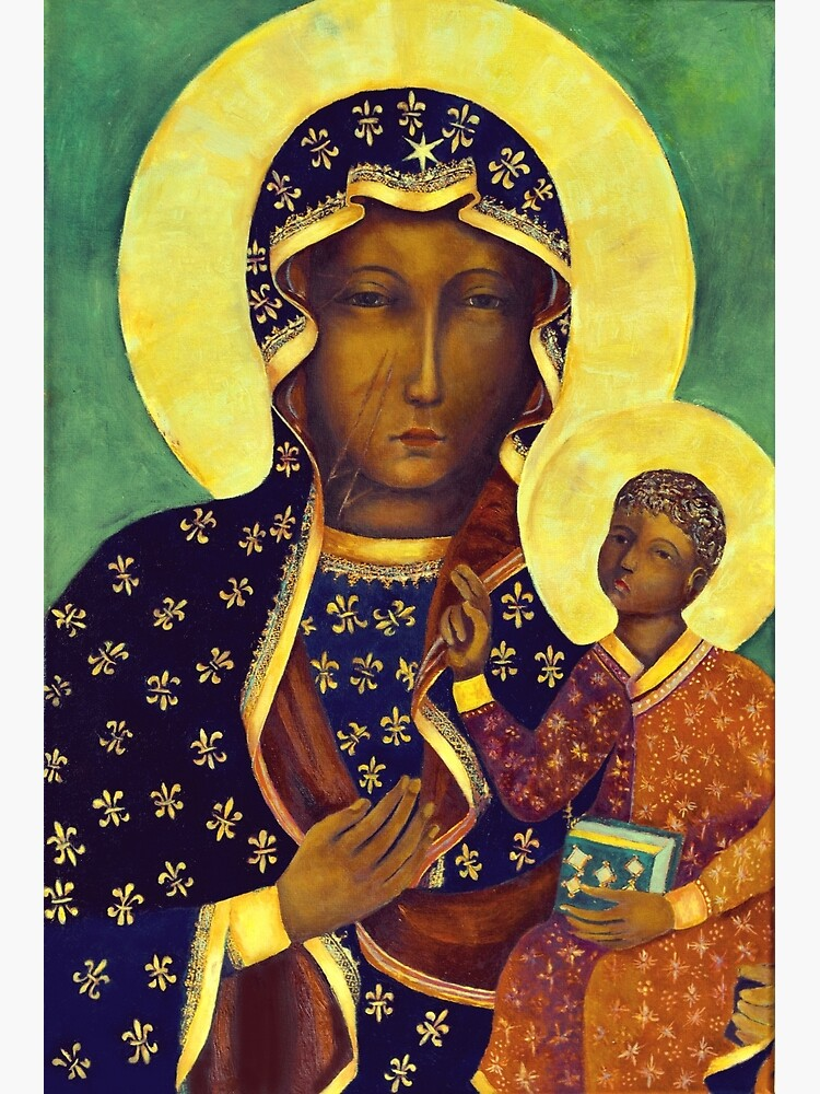 Polish Black Madonna Our Lady of Czestochowa Madonna and Child Picture Virgin Mary Painting by tanabe