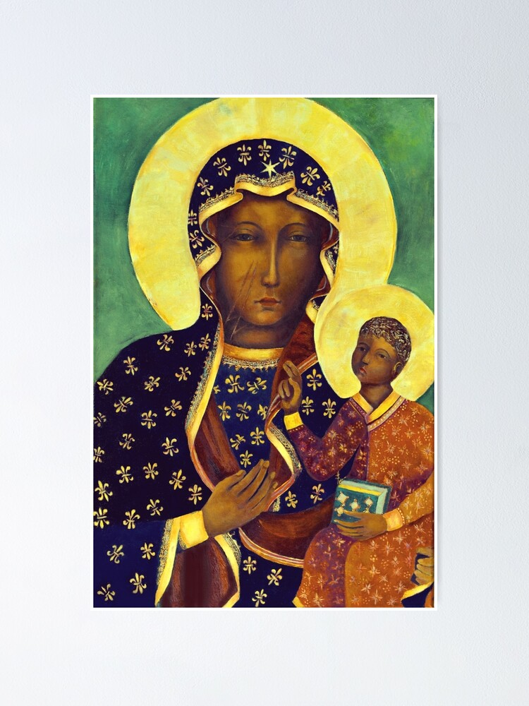 Alternate view of Polish Black Madonna Our Lady of Czestochowa Madonna and Child Picture Virgin Mary Painting Poster