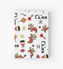 china symbol and Hieroglyph seamless Hardcover Journal