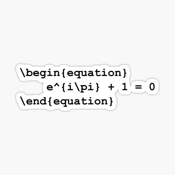 Euler identity - LaTeX code Sticker
