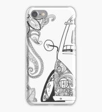 VW Split Screen Camper Van Zinetangle Black & White iPhone Case/Skin
