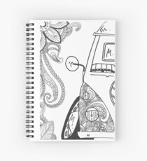 VW Split Screen Camper Van Zinetangle Black & White Spiral Notebook