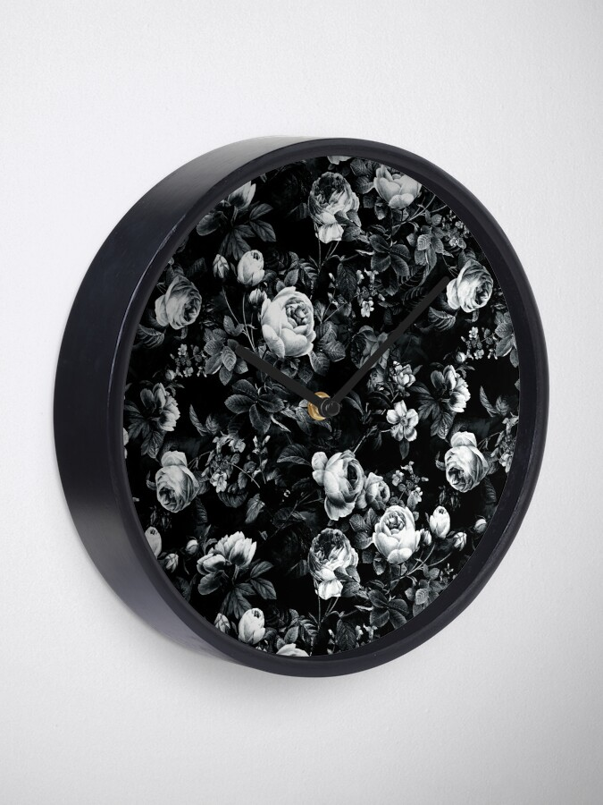 Alternate view of Roses Black and White Clock