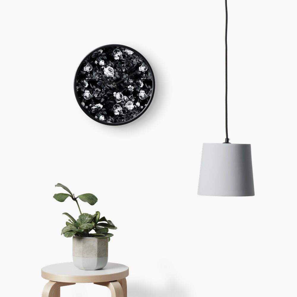 Roses Black and White Clock