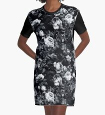Roses Black and White Graphic T-Shirt Dress
