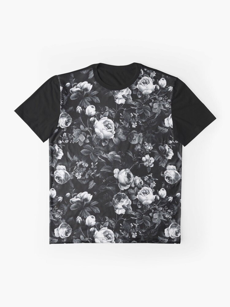 Alternate view of Roses Black and White Graphic T-Shirt