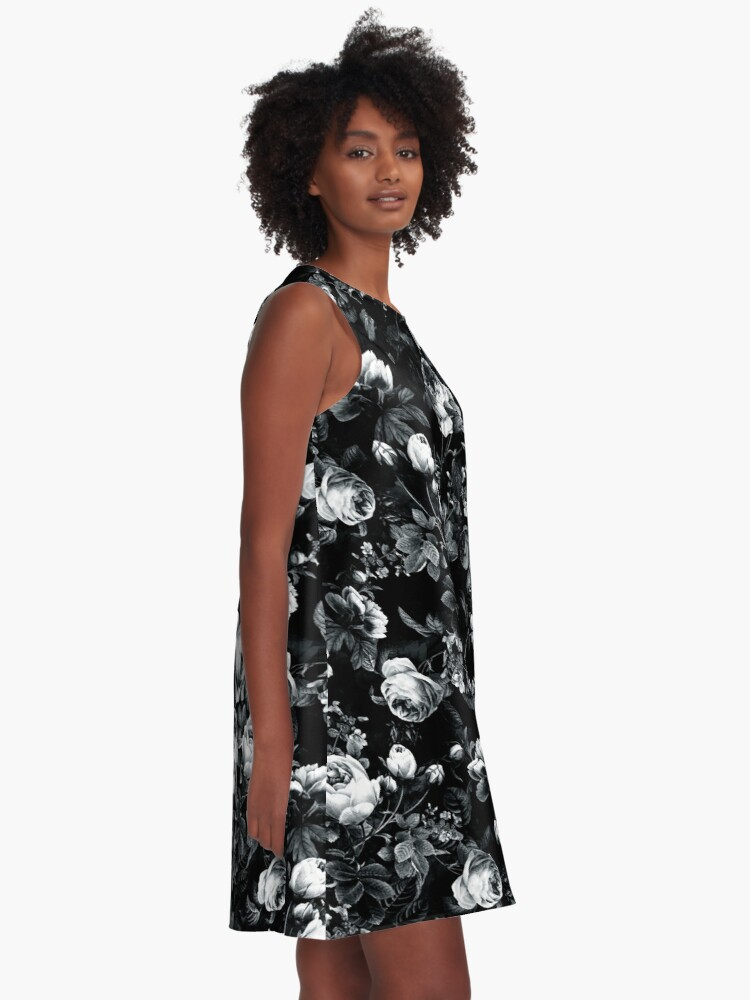 Alternate view of Roses Black and White A-Line Dress