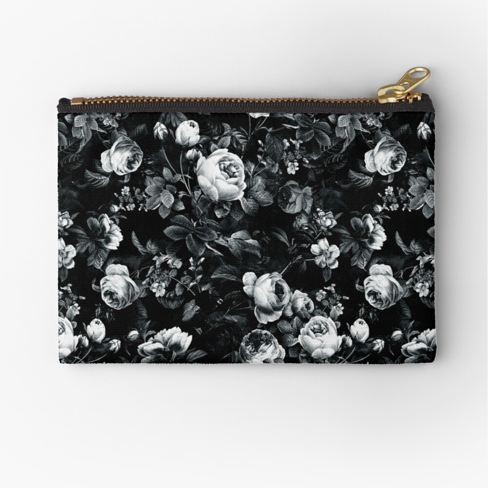 Roses Black and White Zipper Pouch