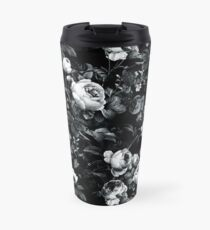 Roses Black and White Travel Mug