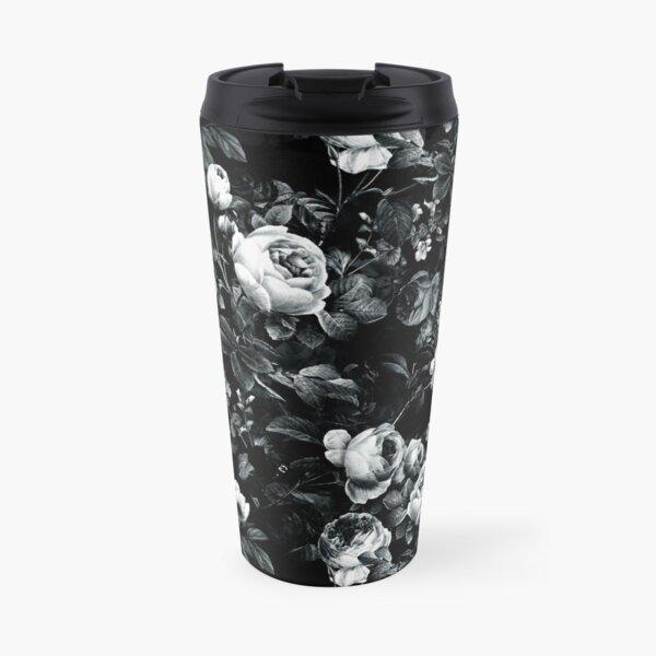 Roses Black and White Travel Mug