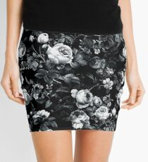 Roses Black and White Mini Skirt