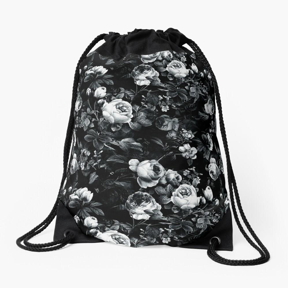 Roses Black and White Drawstring Bag