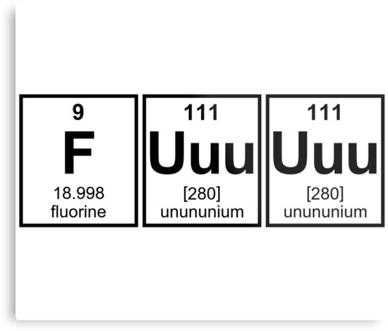 Rage Fuuuuuu Periodic Table Element Symbols Metal Prints By