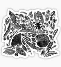 Mixed leaves, Lino cut printed nature inspired hand printed pattern Sticker