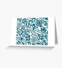 BLUE GARDEN, Blue floral folksy pattern, Lino cut printed nature inspired hand printed pattern Greeting Card
