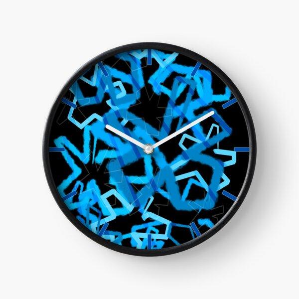 Funky Blue Graffiti Flowers Clock