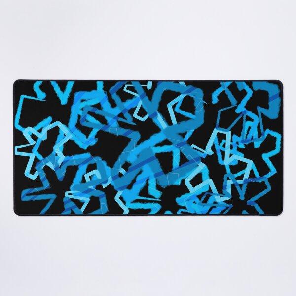 Funky Blue Graffiti Flowers Desk Mat