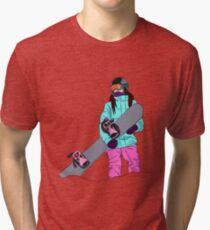 Snowboarder girl in mountain Tri-blend T-Shirt