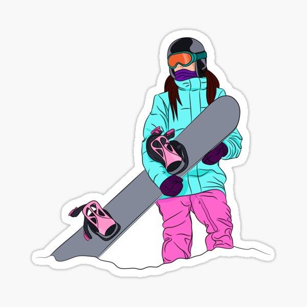 Snowboarder girl in mountain Sticker