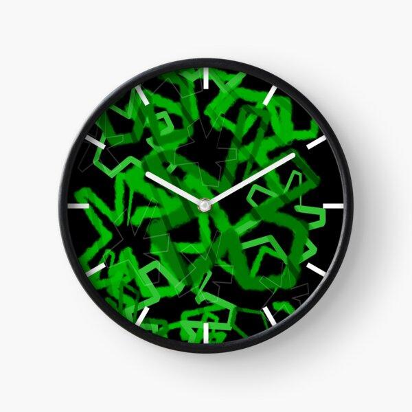 Funky Green Graffiti Flowers Clock