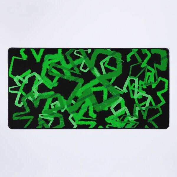 Funky Green Graffiti Flowers Desk Mat