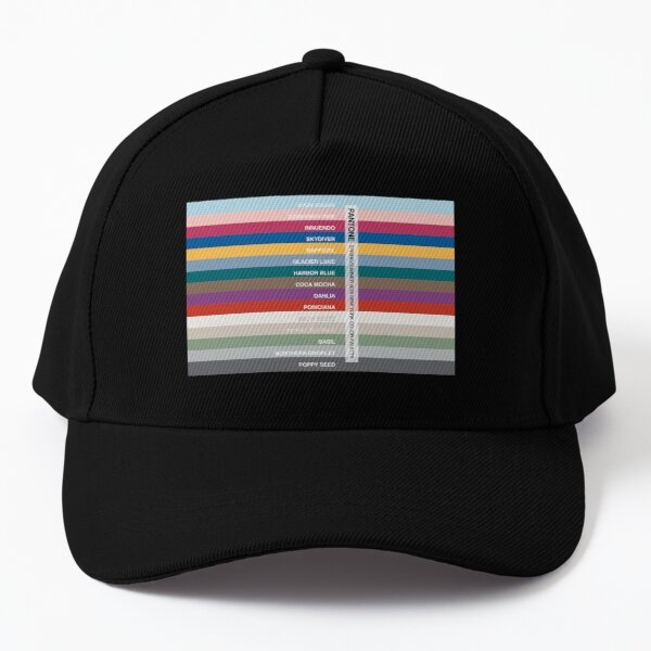 New York Fashion Week Color Palette, Spring/Summer 2022 (Pantone - all 15 colors, with labels) Baseball Cap