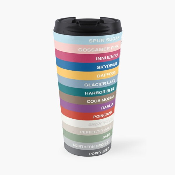 New York Fashion Week Color Palette, Spring/Summer 2022 (Pantone - all 15 colors, with labels) Travel Mug