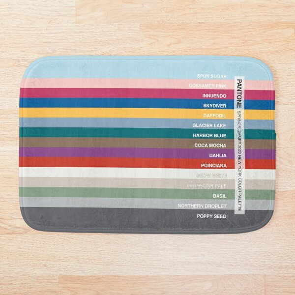 New York Fashion Week Color Palette, Spring/Summer 2022 (Pantone - all 15 colors, with labels) Bath Mat