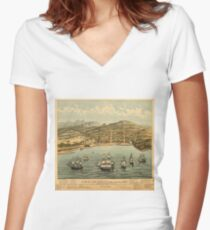 Vintage Pictorial Map of San Francisco (1884)  Women's Fitted V-Neck T-Shirt