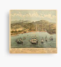 Vintage Pictorial Map of San Francisco (1884)  Metal Print