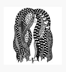 African Braids Hair Strands Zentangle by Hamlet Pericles Photographic Print