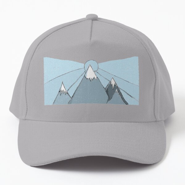 Sun and mountains in winter with snow Baseball Cap