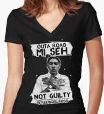 Out A Road #FREEWORLBOSS WHITE Women's Fitted V-Neck T-Shirt