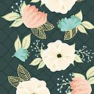 Dramatic Floral With Moroccan Tile Background by Gwen DeGroff